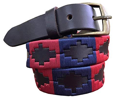 CARLOS DIAZ Jungen Mädchen Kids Kinder Unisex Argentinischen Braun Leder Bestickte Polo Gürtel (65 cm/ 24-26 Inches)