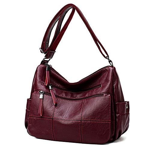 Nuevo bolso femenino, bolso cruzado viejo salvaje, bolso de hombro de la madre, cuero suave de gran capacidad, bolso de la suegra, Negro (Negro) - 5001033322300