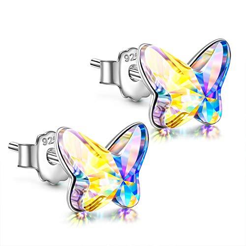 ANGEL NINA Ohrstecker 925 Sterling Silber für Mädchen Geburtstagsgeschenk Geschenk für Frauen Kristall von Swarovski Schmuck Damen