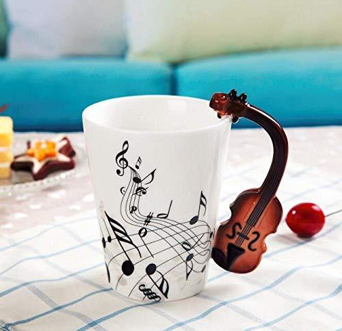 LongBin Música Creativa Estilo Violín Guitarra Taza De Cerámica Café Té Leche Tazas De Madera con Asa Taza De Café Regalos Novedosos-Style_1