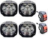 RA ACCESSORIES RA 9 LED Waterproof White 24W Fog Light for Bikes with on/off Handlebar Switch for...
