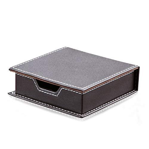 kawauso レザー 蓋付 小物 箱 付箋 入れ オフィス トレイ 整理 名刺 収納 高級感 ビジネス(黒・茶色) (茶色)