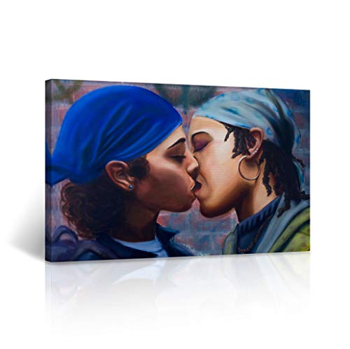 Buy4Wall Lesbian Couple Kissing Oil Paint Canvas Print Love is Love Real Wall Art Home Decor Artwork LGBT Wall Art Stretched and Framed - Ready to Hang -%100 Handmade in The USA - 19x28