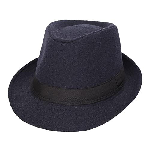 Donggu Sombrero de Panama Fedora Trilby Gangster Sombrero para Mujeres y Hombres Gorra Fedora Retro, Dark blue,