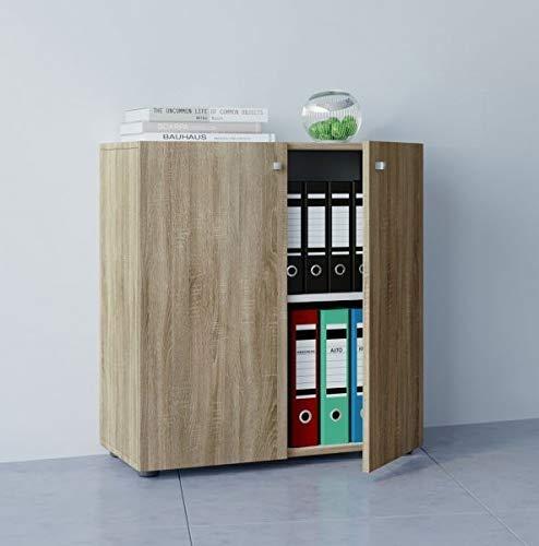 VCM Büroschrank Aktenschrank Bücherregal Universal Ordner Schrank Regal Sonoma-Eiche 70 x 70 x 39 cm