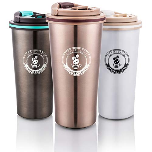Coffee Cloud Edelstahl Kaffeebecher 500ml | Doppelwandig vakuumisolierter Travel Mug | Thermobecher aus Edelstahl | Isolierbecher BPA Frei, Leicht & Auslaufsicher (Bronze)