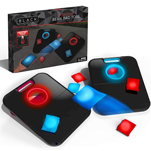 THE BLACK SERIES Light Up Bean Bag Toss Cornhole Game Multi-Player Set Night Lights Great for Playing Outdoors, Sporting Events, Game Nights