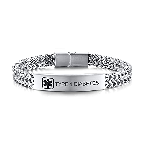 PJ JEWELLERY Type 1 Diabetes Medical Alert ID Plated First Aid Emergency Bracelets for Men Stainless Steel Two-Strand Wheat Chain Bracelet Double Franco Link Curb Chain Magnetic Clasp Closure for Men
