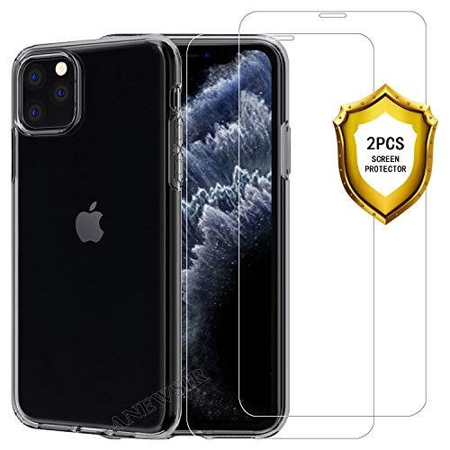 """ANEWSIR Funda + 2 Pack Vidrio Templado para iPhone 11 Pro 2019(5.8""""), [2.5d Borde Redondo] [9H Dureza] [Alta Definicion] Protector de Pantalla + Transparente TPU Silicona Ultra Fino Shell Protection"""