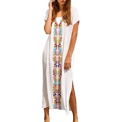 Vestido de Fiesta Mujer Traje de baño de Playa de Verano de Mujeres Bikini Bordado Cover Up Vestido Largo de Manga Corta Bañador Túnica Camisolas Pareos (Blanco, Tamaño Libre)
