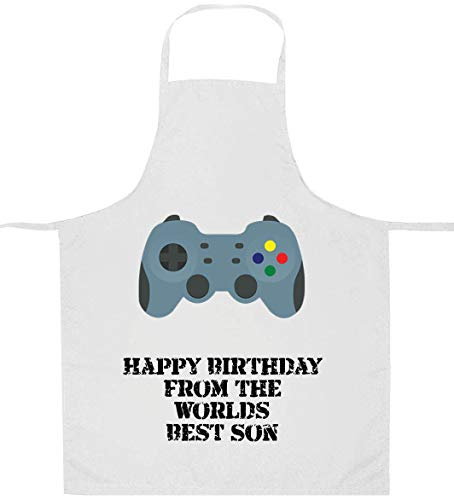 Happy Birthday from The Worlds Best Son Game Controller Herren Schürze - Personalisierbar - apd5
