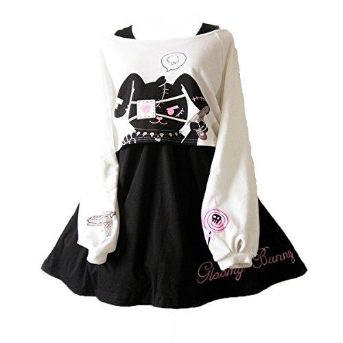 Himifashion Print - Kleid Kawaii Kaninchen 2 stücke für mädchen 2018 Neue Kleider, White&black, L