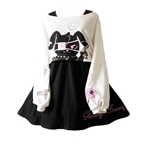 Himifashion Print - Kleid Kawaii Kaninchen 2 stücke für mädchen 2018 Neue Kleider, White&black, S