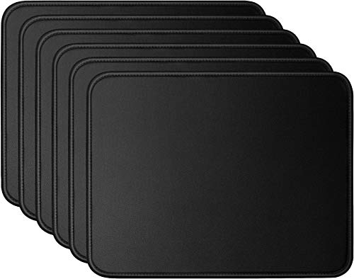 Mouse Pad Bundle Stitched Edges Premium Waterproof Gaming Mouse Mat Pad, Extends Battery Life Non-Slip Rubber Base Thick Black Mousepad for Laptop Computer & PC, 11 x 8.7 inch, Black Razer-Pack of 6