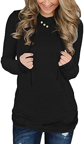 QUEEN PLUS Women s Long Sleeves Sweatshirt Button Cowl Neck Hoodie with Adjustable Drawstring product image