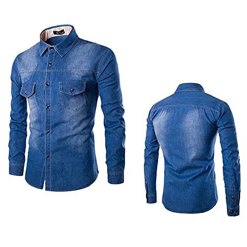 Qsctys Men's Trucker Jacket Jean Jacket for Men Slim Fit Mens Denim Jacket Coat - Fashion Casual Cotton Lightweight Shirts