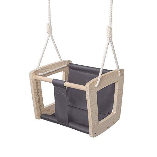 MAMOI - Balancín para bebé de Madera Lavada, diseño Interior, hasta 30 kg Eco Certificado CE. (Columpio Gris)
