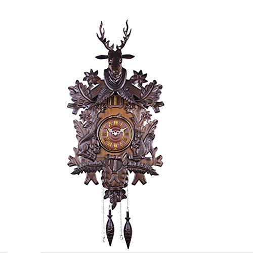 relojes Madera maciza de época Reloj de cuco Tallado Artesanía Reloj de pared Columpio Estilo europeo Reloj de pared Mute Decoración creativa Reloj de cuarzo Clásico Reloj de pared decorativo