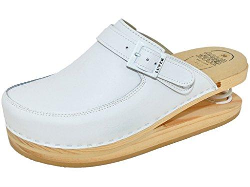 LUVER gefederte Damen Clogs weiß - Federschuhe - clgjr127w, Weiß, Größe: 37