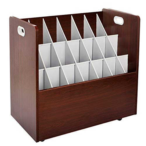 AdirOffice Mobile Blueprint Roll File Holder - Architectural Plan Storage Organizer for Home Office or School Use 21 Slots (Mahogany)