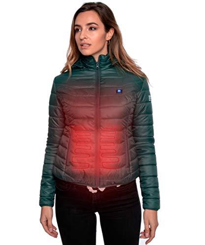 Beston Cazadora calefactable Mujer - 3 Niveles de Temperatura, 5 Zonas de calentado, hasta 7 Horas de duración, Carga tu móvil hasta 4 Veces - Color Verde, Talla S
