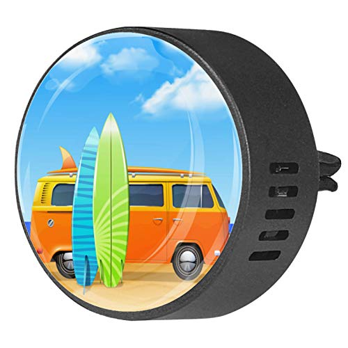 Josid Car Aromatherapy Essential Oil Diffuser Car Air Freshener - Bus with Surf Boards - Vent Clip Locket 2 Pack