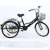 EURYTKS Triciclo de Carga Triciclos para Adultos de 24 Pulgadas Bicicletas de 3 Ruedas Acero con Alto Contenido de Carbono con Canasta de Compras para recreación, Compras, Picnic, Ejercicio