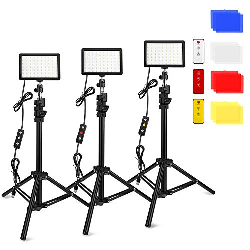 3 Packs 70 LED Video Light with Adjustable Tripod Stand/Color Filters, Obeamiu 5600K USB Studio Lighting Kit for Tablet/Low Angle Shooting, Collection Portrait YouTube Photography (Black#1)
