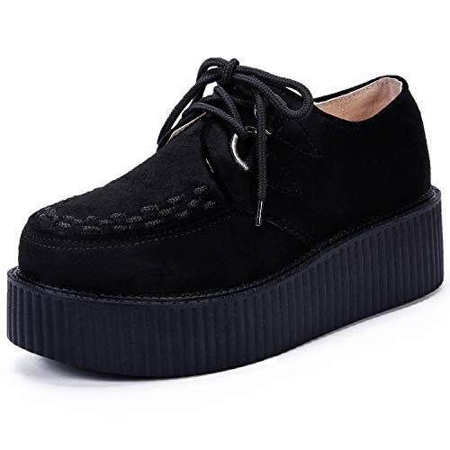 YORWOR Damen Flach Sneaker Plattform Keilabsatz Schnürbar Gothic Punk Creepers Schuhe Stiefel Schwarz EU 38