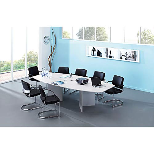Hammerbacher Konferenztisch - Gestellvariante Rundrohrbeine, für 10 Personen - lichtgrau | KT28C/5