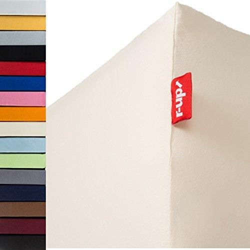 r-up Beste Spannbettlaken 180x200-200x220 bis 35cm Höhe viele Farben 95% Baumwolle / 5% Elastan 230g/m² Oeko-Tex stressfrei auch für Boxspringbetten (Natur)