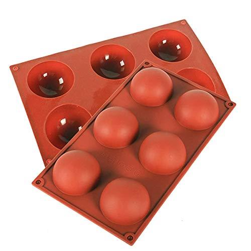 Stampo in Silicone a Semisfera,Stampo in Silicone per Dolci,Sferiche 6 Cavità per la Preparazione di Cioccolato, Torta, Gelatina, Mousse a Cupola (2 Pack)