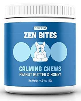Zen Bites - Calming Dog Chews - By Zen Dogs - Peanut Butter & Honey - All Natural Calming Treats For Dogs & Cats - Stress & Anxiety Relief - Balanced Behavior Support - Travel Friendly - 30 Count