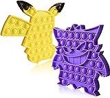 Koete Pop it Fidget Toys Pokemon | 2 Poppit Fidget Toys Pack | Juguete sensorial antiestrés de silicona para calmar y mejorar la concentración (pikachu + ectoplasma)