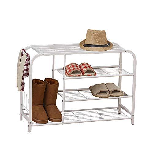 Zapato Blanco Banco de Zapatos Estantes de Caja de Zapatos de Hierro de 3 Niveles para Sala de Estar Dormitorio Pasillo Vestíbulo