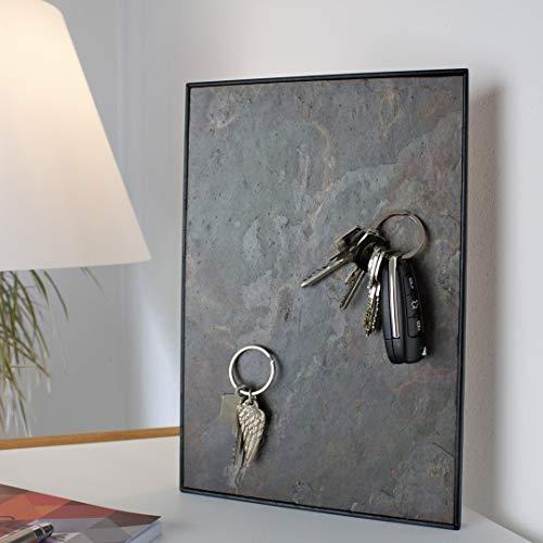 Steinmine - Designmanufaktur Magnetisches Schlüsselbrett, Echt Schiefer Schlüsselboard 30cm x 20cm(Schlüselhalter Magnet) (Vulcano Stone)