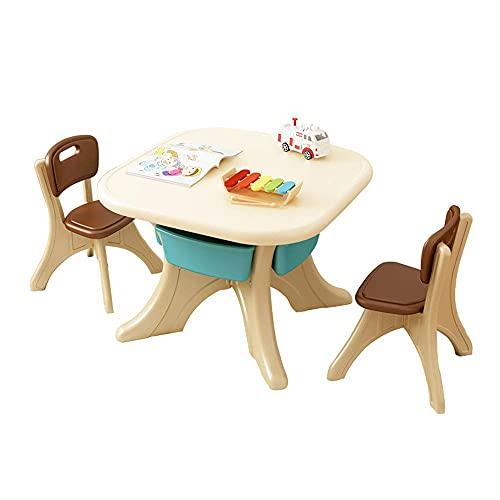 N&O Renovation House Kindertisch- und Stuhl-Set Multifunktionaler Kinder-Studientisch und -Stuhl 1 Tisch und 2 Stühle mit 4 Aufbewahrungsboxen Zum Lesen Essen Spiele Stabile Struktur D 70x70x50cm
