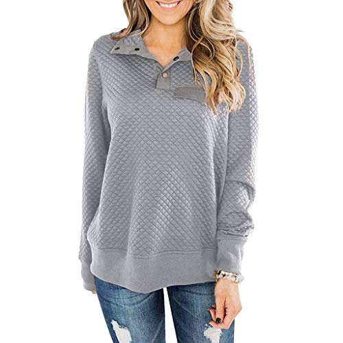 Best Buy! kaifongfu Womens Sweatshirts Long Sleeve Button Plain Casual Sweater Pullover Shirt Tops(G...