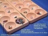Gebrüder Vinkelau GmbH Halbedelsteinspiel aus Buche mit tiefen, gefasten Mulden und 80 echten Halbedelsteinen - Tischlerqualität hergestellt im Münsterland / Made in Germany / Kalaha / BAO HUS