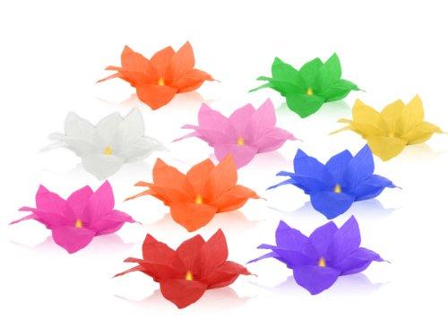 Lot de 10 lanterne flottante en papier thaï multicolore bougie chauffe plat comprise Nymphea forme fleur de Lotus manifestation nocturne décoration romantique piscine bassin lac fleuve lumière nautique eau mariage anniversaire