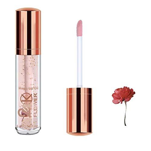 24K Gold Foil Moisturizing Lip for Anti-Wrinkle Nourishing, Oil Superimposed Lip Gloss Dried Flower Refreshing Lip Gloss