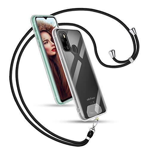 TUUT Funda con Cuerda para Ulefone Note 9P, Carcasa Transparente TPU Silicona Case con Colgante Ajustable Collar de Cuello Cadena Cordón Universal Parches para Teléfono con Correa - Negro
