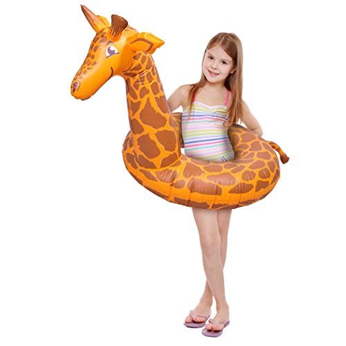 GoFloats Stretch the Giraffe Jr Pool Float Party Tube, Stylish Floating for Kids