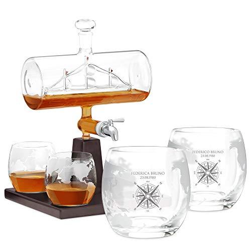 Murrano Decanter per Whisky in Vetro - Incisione Personalizzata - Caraffa da 1000 ml con Una Nave all'Interno + 4 Set Bicchieri Whisky - Idea Regalo per la Coppia - viaggiatori