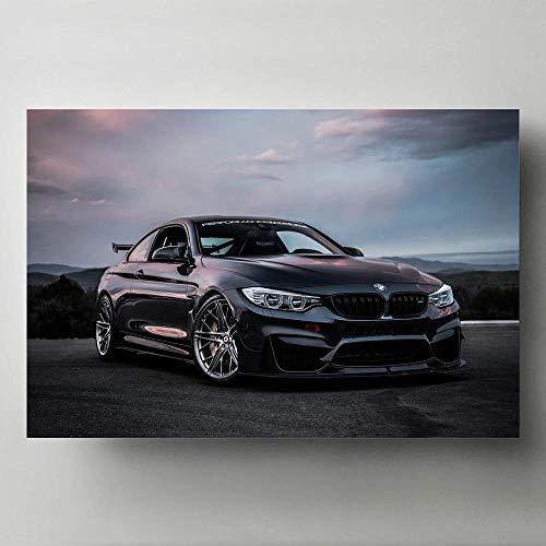 agwKE2 Moderne Kunst Poster und Drucke Tuning Auto BMW M4 Schwarz Sportwagen Fahrzeug Wandbild Leinwand Malerei Wohnzimmer Dekor / 60x90cm (kein Rahmen)
