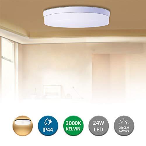 24W LED Deckenleuchte 18cm Wasserdicht IP40 Led Deckenleuchte Rund 2160LM 3000K Lampe Innenleuchte für Wohnzimmer Arbeitszimmer Küche Badezimmer Treppe Eingang Passage Halle (WarmWeiß, 24W)