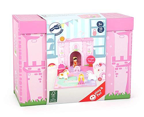 Bavaria Home Style Collection - Spielkoffer- Prinzessinnen-Schloss aus Robuster Pappe und märchenhaften Holzfiguren