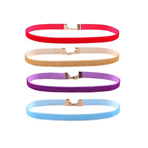 Ribbons Samt-Halsreif, 12 Farben, 10 mm, für Damen und Mädchen, Punk-/Gothic-Anhänger, Chocollier Ras Du Cou-4 Farben