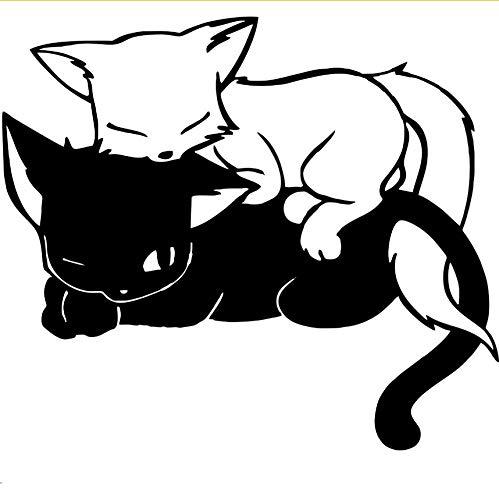 Wuyyii schattige doos twee kat slapen zoete muur stickers zwart en wit kat liggend op elke andere foto stickers voor kinderen kamer huisdecoratie