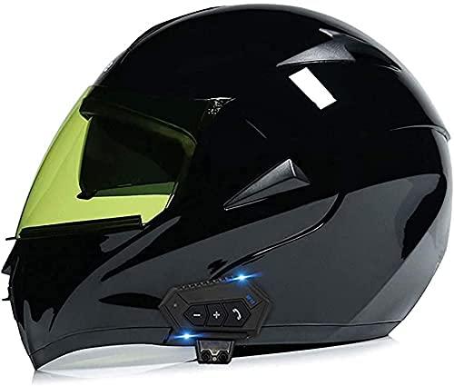 CHLDDHC Casco de motocicleta con Bluetooth, con visera doble antivaho, modular de cara completa, con forro extraíble y lavable, con forro Bluetooth